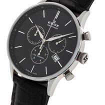 Edox Mens Leather Les Vauberts Chronograph - 10408-3N-NIN