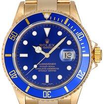 Rolex Submariner 18k Gold Men's Watch 16618 Blue Dial