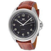 Glycine Combat 7 Black Dial Automatic Men's Leather Watch