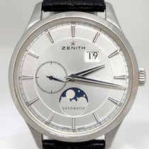 Zenith Mens Zenith Captain Moonphase Automatic Date 50m Silver...