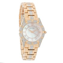 Bulova Crystal Ladies MOP Rose Gold Tone Bracelet Quartz Watch...
