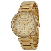 Michael Kors Parker Crystal Chronograph Gold-tone Ladies Watch...