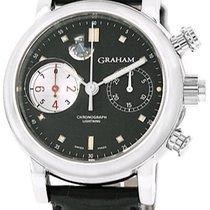 Graham Foudroyante Automatic Black Dial Black Leather Men'...