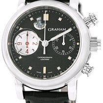 Graham Foudroyante Automatic Black Dial Black Leather Men'...