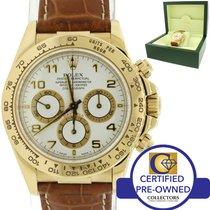 Rolex Daytona Zenith Cosmograph 16518 18k Gold White Leather