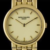 Patek Philippe 18k Yellow Gold Ivory Enamel Dial Calatrava...