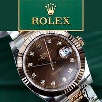 Rolex Mens Datejust Ii Chocolate Diamond Dial 41mm  18k/steel ...