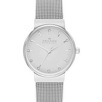 Skagen Womens Ancher Crystal Watch - Stainless Steel - Mesh Band
