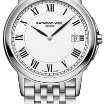Raymond Weil Tradition Slim Stainless Steel Mens Watch White...