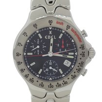 Ebel Stainless Steel Sport Wave Black Chronograph 39mm Watch E925