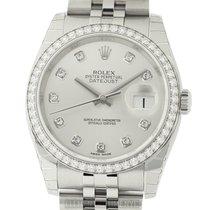Rolex Datejust 36mm Diamond Bezel & Silver Diamond Dial...