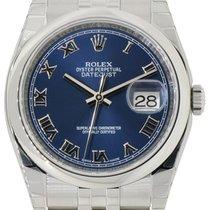 Rolex Datejust 36 116200-BLURSJ Blue Roman Stainless Steel...