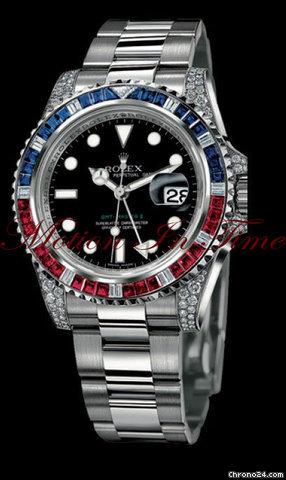Rolex Gmt Master Ii White Gold Baguette Diamond Amp Sapphire