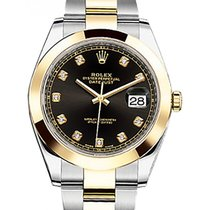 Rolex Datejust 41 126303 Black Diamond Yellow Gold Stainless...