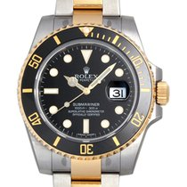 Rolex Submariner SS/18K Gold Ceramic Black Dial Mens Watch 40mm