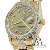 Rolex Yellow Gold Presidential Day Date Champagne Dial Diamond...