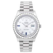 Rolex President Day-Date II Men's 18k White Gold Diamond...