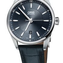 Oris Artix Date, Blue Dial, Leather Bracelet