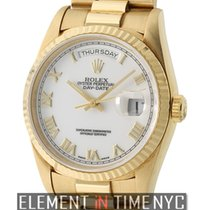 Rolex Day-Date 36mm President 18k Yellow Gold White Roman Dial...