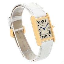 Cartier Tank Louis 18k Yellow Gold White Strap Quartz Watch...