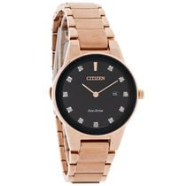 Citizen Eco-Drive Ladies Axiom Diamond Rose Gold Tone Watch...
