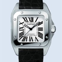 Cartier Santos 100 mittleres Modell Stahl Leder -NEU-