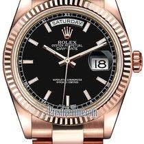 Rolex Day-Date 36mm Everose Gold Fluted Bezel 118235 Black...