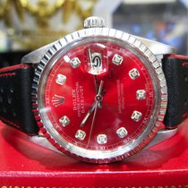 Rolex Oyster Perpetual Datejust Steel Red Diamond Dial Watch
