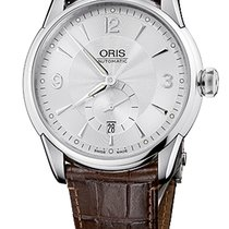 Oris Artelier Small Second, Date Silver Dial Brown Leather