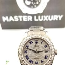 Rolex Datejust Pearlmaster Pave Roman Blue Enamel Dial WG