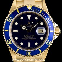 Rolex 18k Yellow Gold O/P Blue Dial Submariner Date B&P 16618