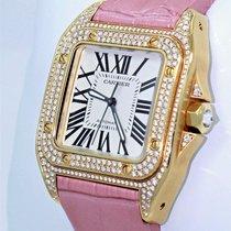 Cartier Santos 100 Midsize Wm502051 Fact Diamond 18k Y Gold...