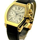 Cartier Roadster Chronograph - Yellow Gold on Strap with White...