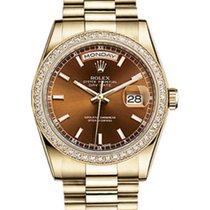 Rolex Day-Date 36 118348-COGSP Cognac Brown Index Diamond...