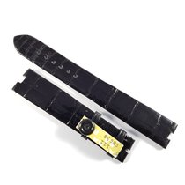Chopard 18mm / 16mm shiny black alligator leather strap NEW