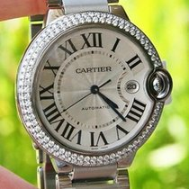 Cartier Steel Mens Ballon Bleu 42mm Watch Box & Paper...