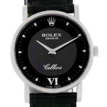 Rolex Cellini Classic 18k White Gold Black Dial Watch 5115