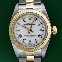 Rolex Oyster Perpetual Lady 18k Gold Steel White Dial