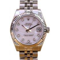 Rolex Datejust 178274 Ladies 31mm Midsize Diamond White Mother...