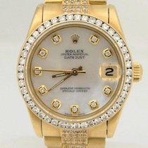 Rolex Midsize Rolex 18k Yellow Gold Datejust Diamond Bezel Mop...