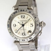 Cartier Mens Pasha GMT Stainless Steel 35mm Automatic Watch...