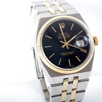 Rolex Mens 18K/SS Oyster Quartz Datejust- Black Stick Dial -...