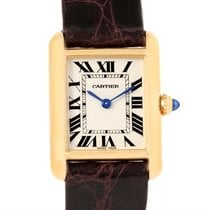 Cartier Tank Louis 18k Yellow Gold Brown Strap Small Watch...