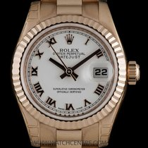 Rolex 18k R/G Unworn White Roman Dial Datejust Ladies B&P...