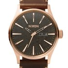 Nixon A105-2001 Sentry Leather Rose Gold Gunmetal Brown 42mm...