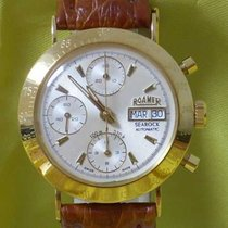 Roamer searock cronograph automatic day date 18 kt gold yellow