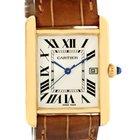 Cartier Tank Louis 18k Yellow Gold Brown Strap Date Watch...