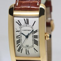 Cartier Large Tank Americaine 18k Yellow Gold Automatic Mens...