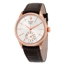 Rolex Cellini Dual Time Silver Dial 18kt Everose Gold Mens...