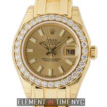 Rolex Datejust Lady Pearlmaster 18k Yellow Gold Diamond Bezel...
